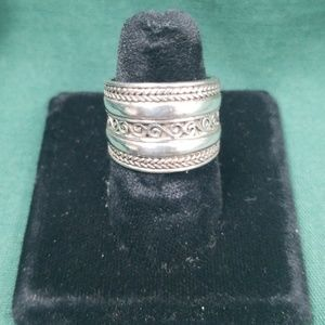 Sterling silver thick band ring